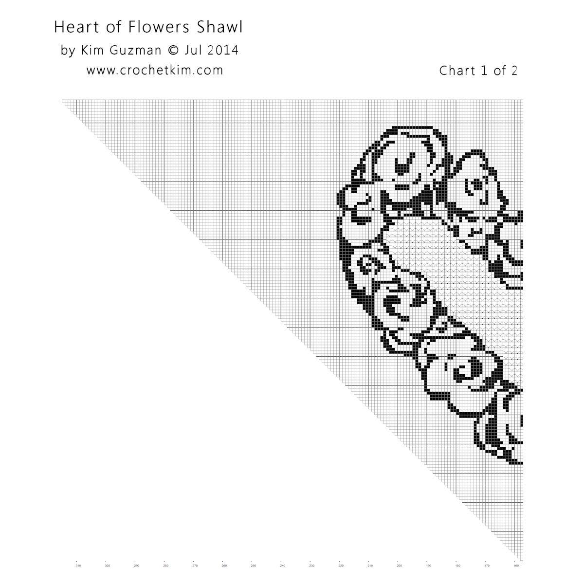 Heart of Flowers Filet Shawl Filet Crochet Chart | free crochet pattern @crochetkim