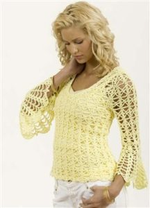 Free Crochet Pattern: Bell Sleeve Pullover