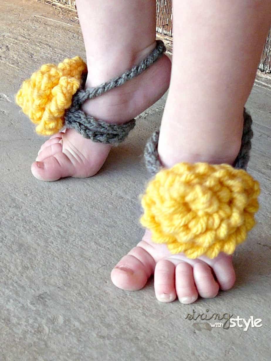 Pretty Barefoot Sandals Free Crochet Pattern Crochetkim