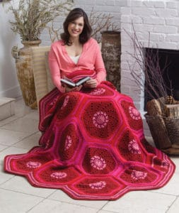 Free Crochet Pattern: Ruby Hexagon Throw