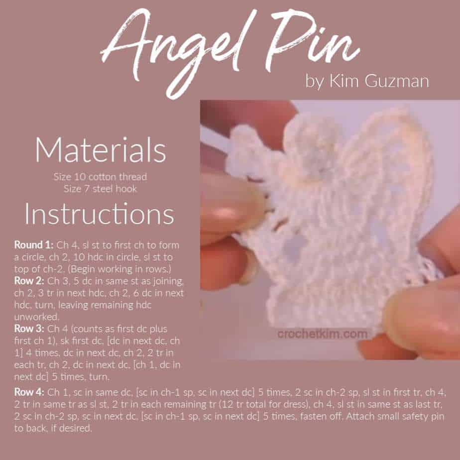 Angel Lapel Pin CrochetKim Free Crochet Pattern