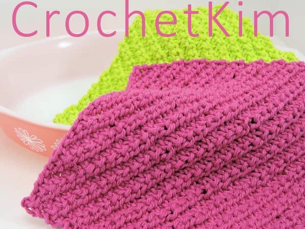 CrochetKim Free Knit Pattern | Diagonal Ribs Washcloth Dishcloth @crochetkim