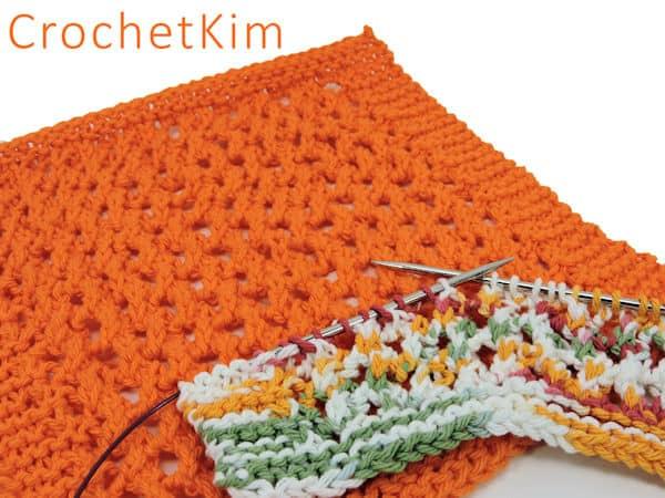 CrochetKim Free Knit Pattern | Lacy Knit Dishcloth @crochetkim