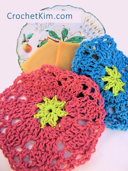 Spring Garden Scrubs Washcloth Dishcloth CrochetKim Free Crochet Pattern