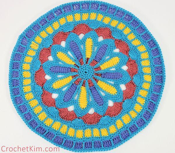 CrochetKim Free Crochet Pattern | Turquoise Mandala Part 1 @crochetkim