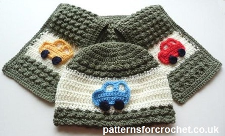 Free Crochet Pattern: Child's Car Hat and Scarf