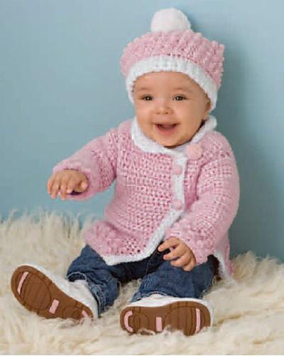 Victorian Rose Baby Sweater and Hat Set | CrochetKim Free Crochet Pattern