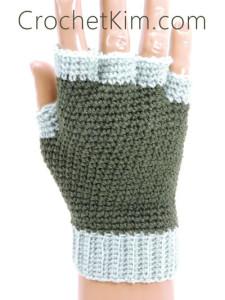 CrochetKim Free Crochet Pattern | Jersey Mitts Fingerless Mitts Gloves for men