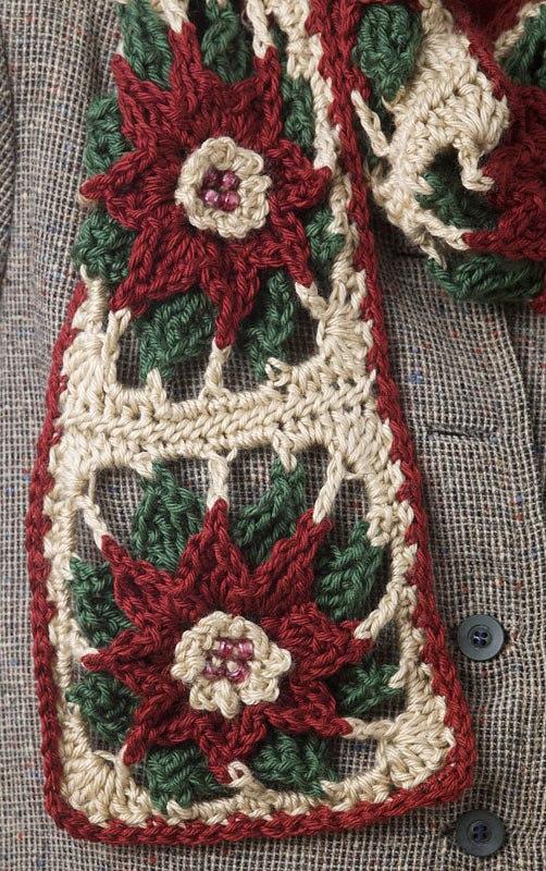 CrochetKim Free Crochet Pattern   Poinsettia Scarf @crochetkim