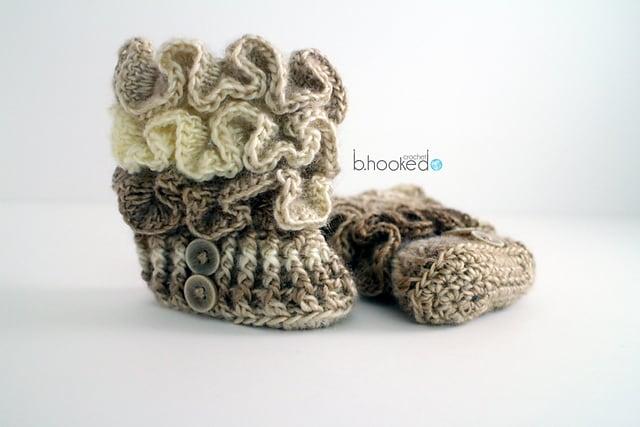 Free Crochet Pattern: Ruffled Baby Booties