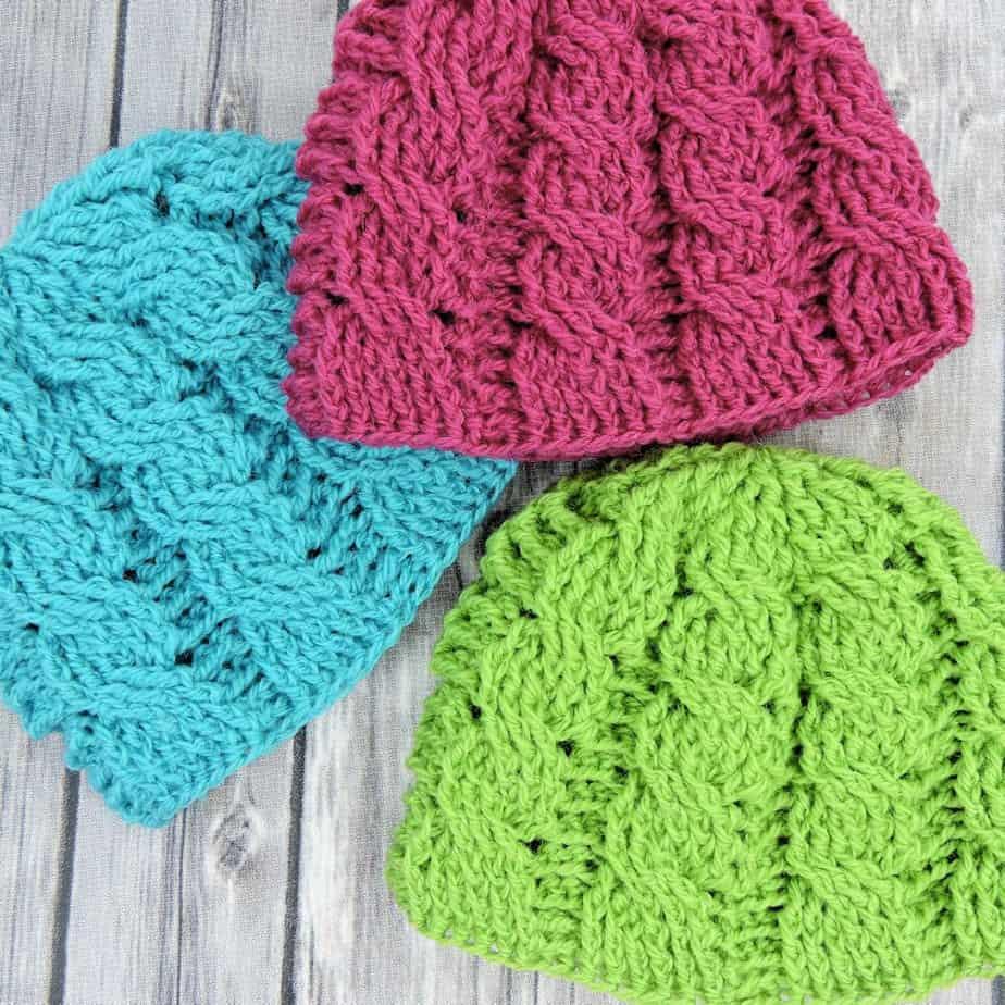Newborn Cable Beanie CrochetKim Free Crochet Pattern