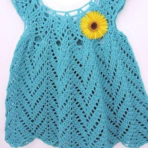 Tulip Chevrons Baby Dress CrochetKim Free Crochet Pattern
