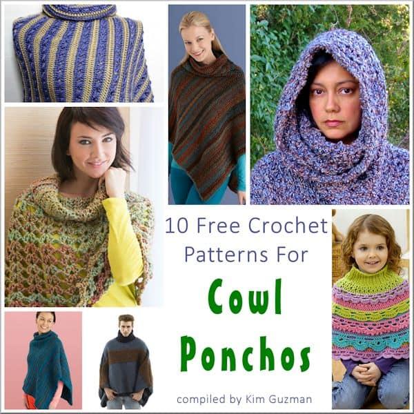 Link Blast: Free Crochet Patterns for Cowl Neck Ponchos
