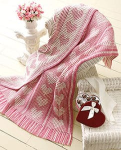Free Crochet Pattern: Say It With Hearts Throw