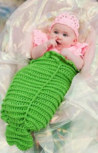 CrochetKim Free Crochet Pattern: Infant Mermaid Cocoon @crochetkim
