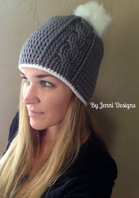 Womens Vertical Cable Beanie Free Crochet Pattern Crochetkim