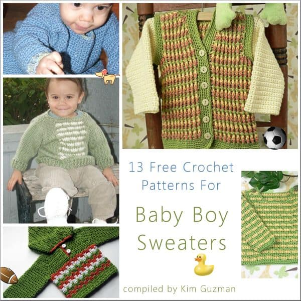 9490d1ad0 Link Blast  13 Free Crochet Patterns for Baby Boy Sweaters