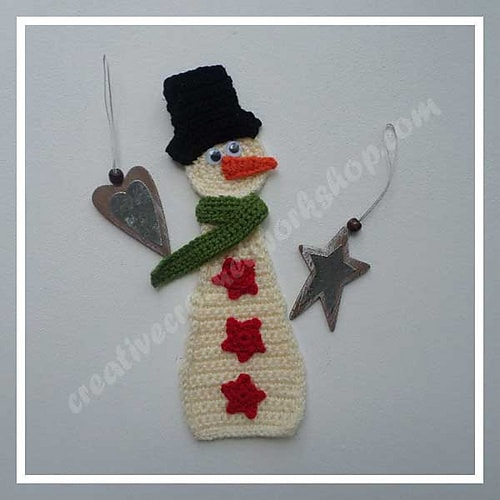 Free Crochet Pattern: Snowman Applique
