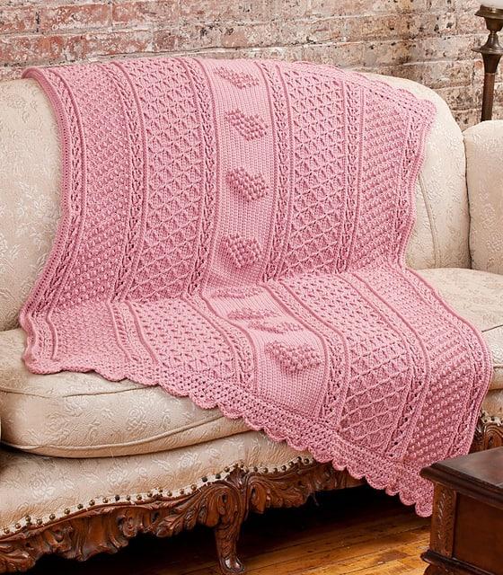 Free Crochet Pattern: Aran Hearts Throw