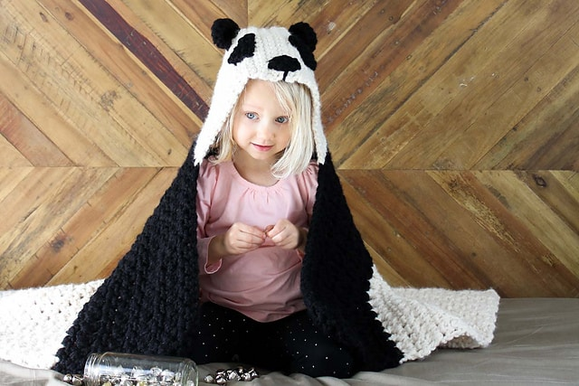 Free Crochet Pattern: Panda Bear Hug Hooded Blanket