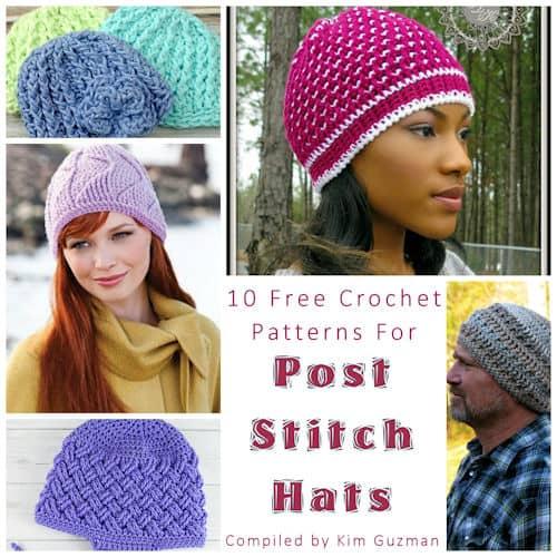 Link Blast: 10 Free Crochet Patterns for Post Stitch Hats