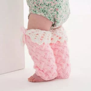 Lacy Baby Legwarmers Free Knit Pattern from Red Heart Yarns