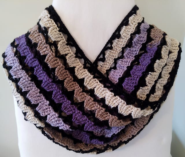 Free Crochet Pattern: Luscious Lilacs Infinity Scarf