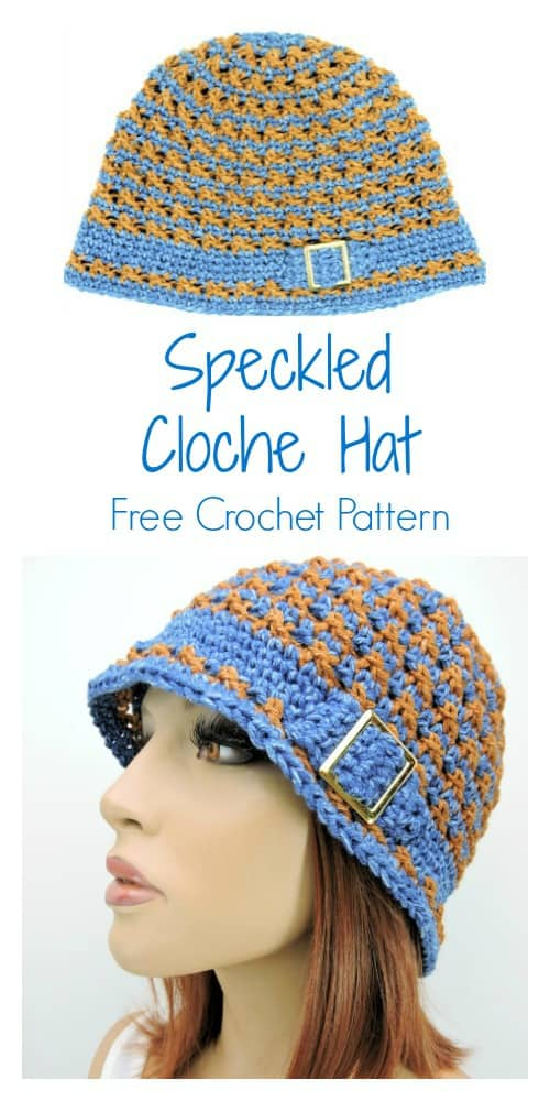 Speckled Cloche Hat CrochetKim Free Crochet Pattern