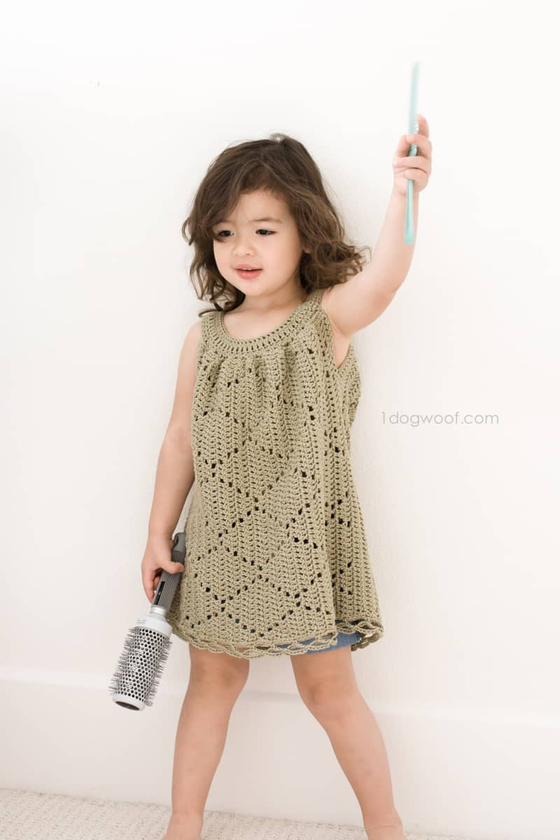 Summer Diamonds Toddler Dress Free Crochet Pattern Crochetkim