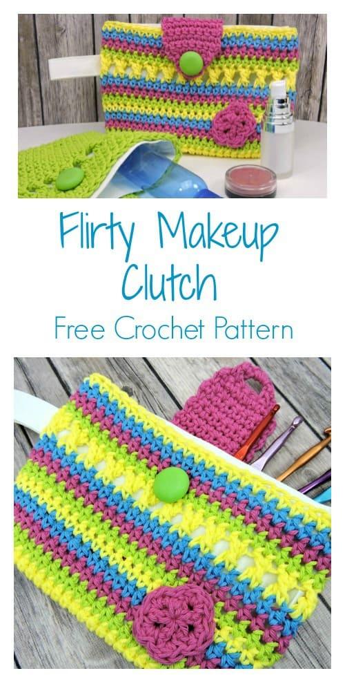 Flirty Makeup Clutch CrochetKim Free Crochet Pattern
