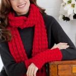 Lacy Bobble Scarf and Mitts Set | CrochetKim Free Crochet Pattern