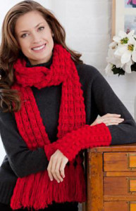 Lacy Bobble Scarf and Mitts Set | CrochetKim Free Crochet Pattern