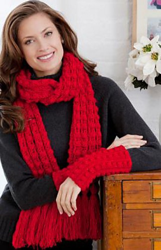 Lacy Bobble Scarf and Mitts Set Free Crochet Pattern