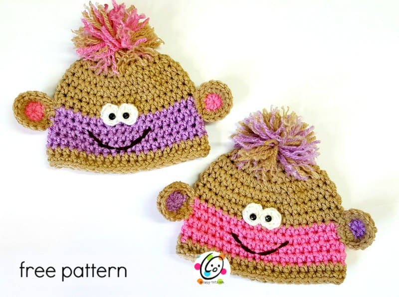 Free Crochet Pattern: Twin Baby Monkey Beanies