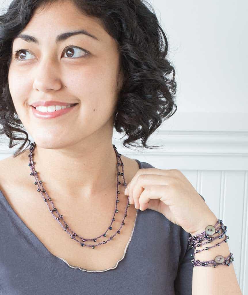 Beaded Necklace & Wrap Bracelet by Churchmouse Yarns and Teas