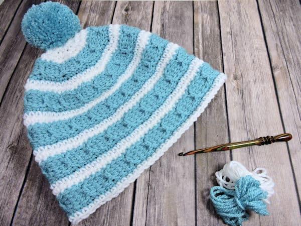 Cables Around Beanie | CrochetKim Free Crochet Pattern
