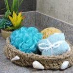 Nautical Seashell Spa Bath Rope Basket Free Crochet Pattern