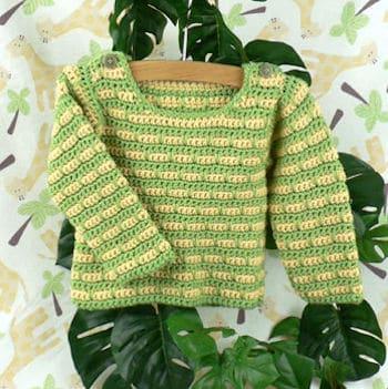 Devon Striped Baby Sweater   CrochetKim Free Crochet Pattern