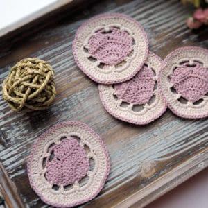 Belle Heart Coaster   CrochetKim Free Crochet Pattern