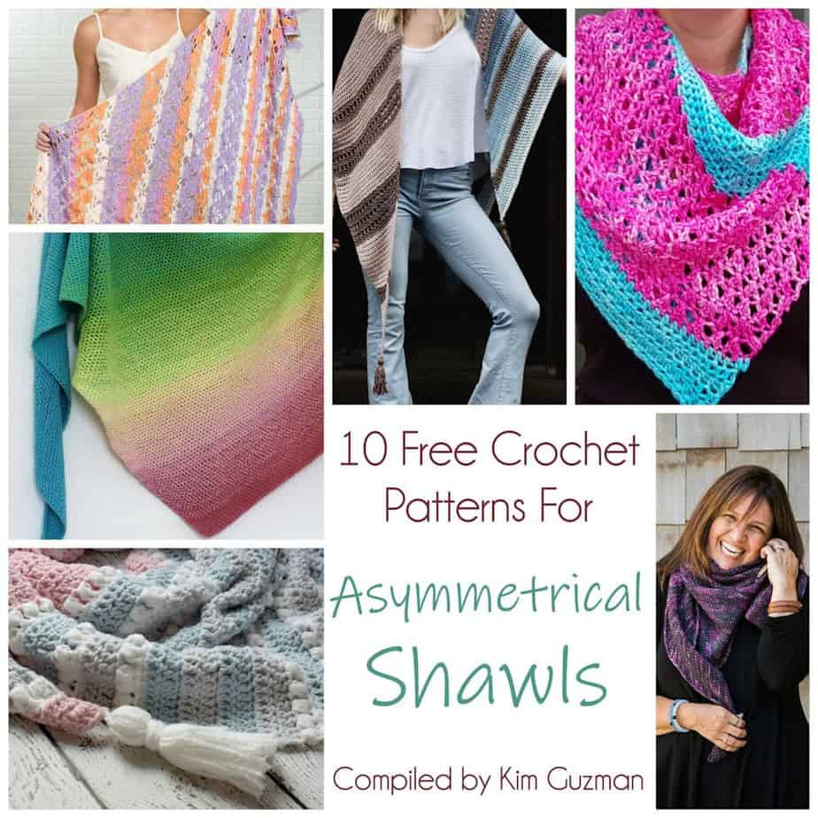 Link Blast: 10 Free Crochet Patterns for Asymmetrical Shawls