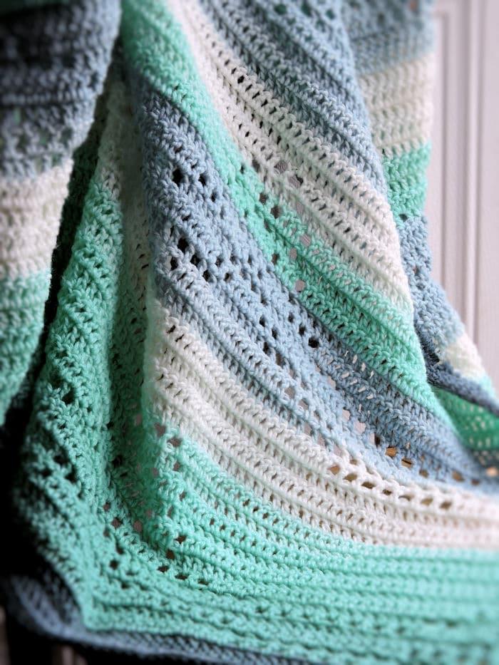 Filet Ribbons Baby Blanket Free Crochet Pattern Crochetkim