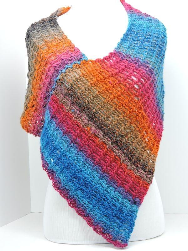 Stripey Poncho CrochetKim Free Crochet Pattern