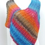 Easy Stripey Poncho Free Crochet Pattern  for Beginners