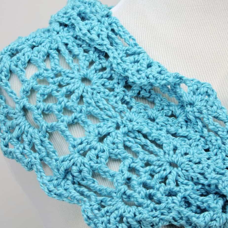 Peacock Lace Infinity Cowl CrochetKim Free Crochet Pattern