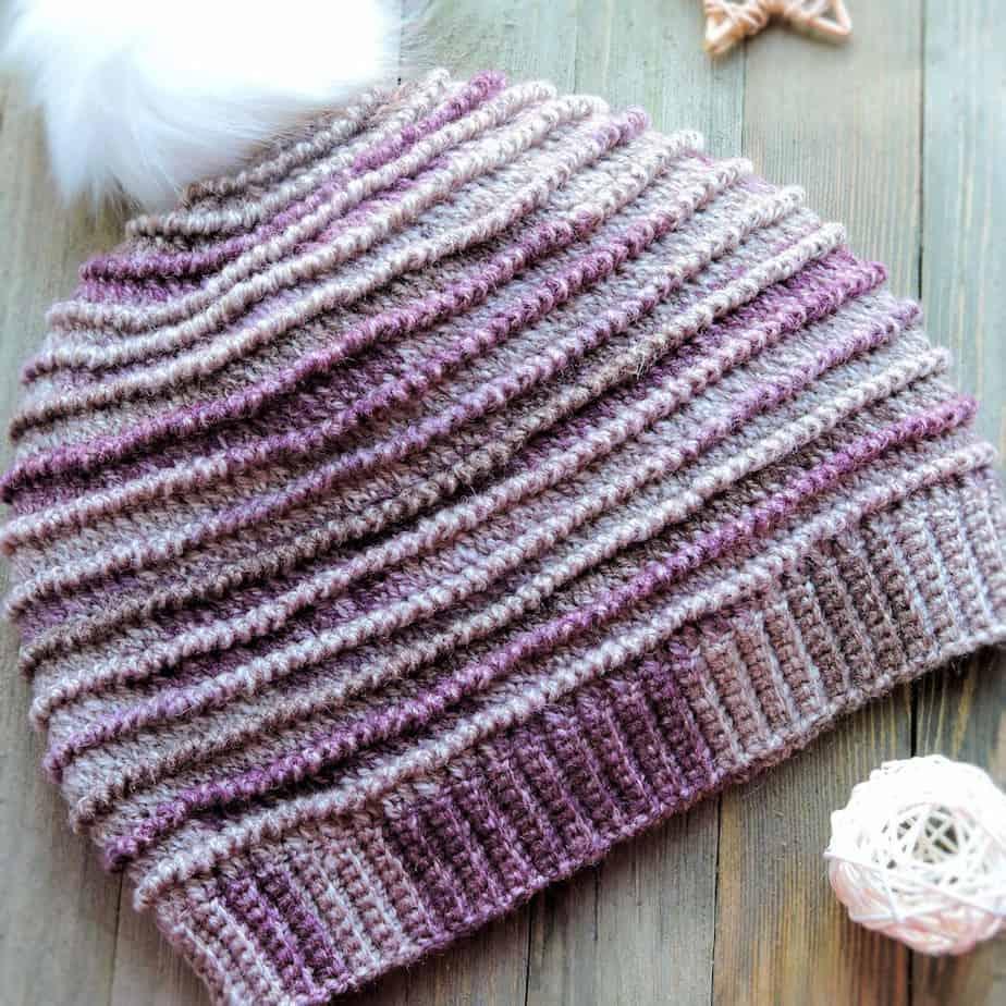 Garter Ridge Beanie CrochetKim Free Crochet Pattern