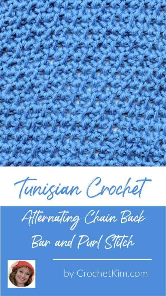 Tunisian Alternating Chain Back Bar and Purl Stitch CrochetKim Crochet Stitch Tutorial