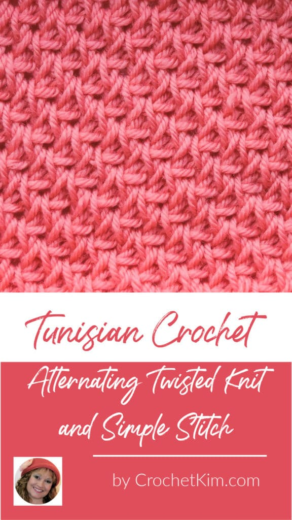 Tunisian Alternating Twisted Knit and Simple Stitch CrochetKim Crochet Stitch Tutorial