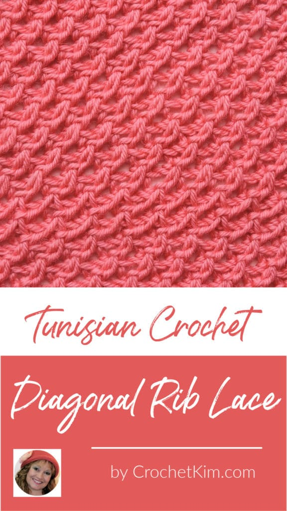Tunisian Diagonal Rib Lace CrochetKim Crochet Stitch Tutorial