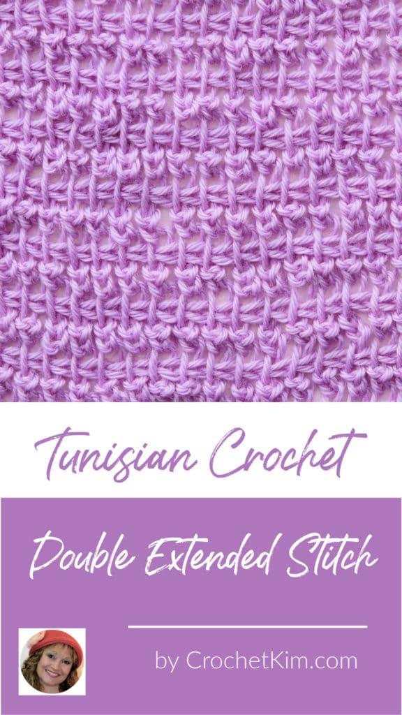 Tunisian Double Extended Stitch in TSS CrochetKim Crochet Stitch Tutorial