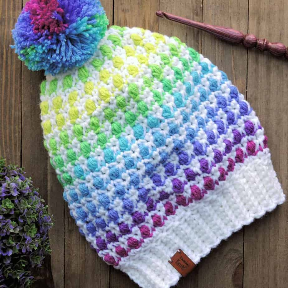 Game Night Slouchie Beanie Hat CrochetKim Free Crochet Pattern